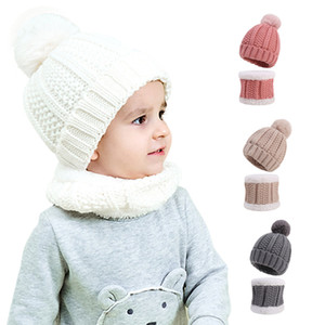 2Pcs Set New Baby Hat Scarf Suit Autumn Winter Knitteed Kids Hat Scarf Set Wool Cotton Girls Boys Hats Neck Children Scarf