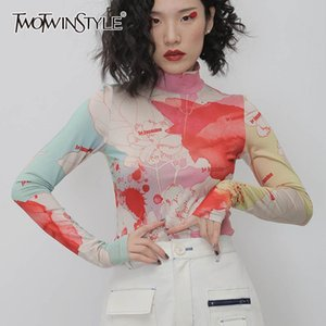 TWOTWINSTYLE Causal Print Hit Color Women's T-shirt Turtleneck Long Sleeve Slim Shirts For Female Fashion Clothing Tide New 201030