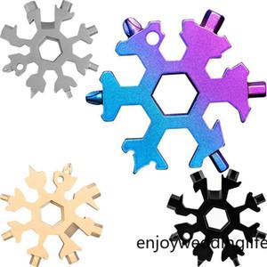 Floco de neve Multi-Tool 18 em 1 Snowflake Wrench Multitool abridores de garrafa multi Chaveiro Bicicleta Fix FY7312 Ferramenta Presente de Natal do floco de neve
