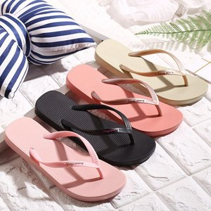 Flip flops female summer wear non-slip flat simple fashion PVC soft comfortable slides hawaii vacation slippers for women