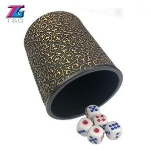 TG di alta qualità PU / Black / Gold Leather Dice Dice Cup Precision Game Bere1
