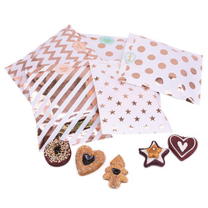 25pcs set Gift Bags Paper Pouch Rose Gold Paper Food Safe Bags Birthday Wedding Party Favors c For Guests 60set T1I3503