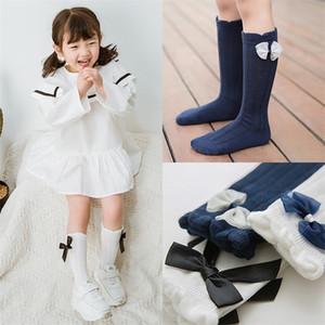 Inpepnow Kids Girls In School for Children Baby Lindo Bow Mesh Algodle Knee Socks Girl WZ-CZX65 Y201001