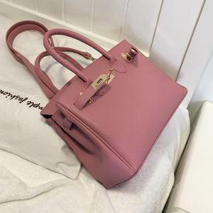Leder-Gepäckanhänger Tasche Frauen 2019 Neue Lychee Muster Birkin Bag Fashion Handbag Red Brautbeutel-Schulter-Umhängetasche Kelly