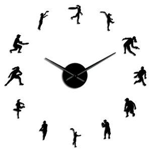 Male And Female Tennis Players Diy Giant Wall Clock Tennis Lover Living Room Wall Art Frameless Mirror Effect Modern Clock Watch bbyGTT