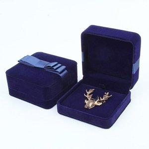 Hoseng Advanced Luxury Broche Regalo Joyería Cumpleaños Navidad Velvet Franela Azul Dark Blue Caja con cinta nudo HS_221