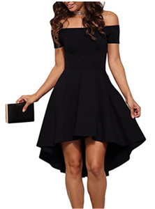 Womens Off The Shoulder Short Sleeve High Low Cocktail Dresses for Wedding Guest Homecoming Skater Dresss