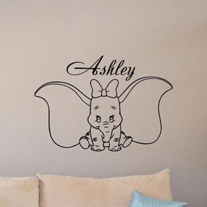 Personalized Girl Name Dumbo Wall Decal Poster Custom Sign Quote Elephant Vinyl Sticker Baby Room Decor Bedroom Mural