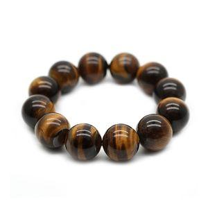 Natural Tiger Eye Stone Bracelet Hand Chain Jewellery Women Men Gift Beads Bracelets Bangles Accessories Bead Diameter 10-18mm