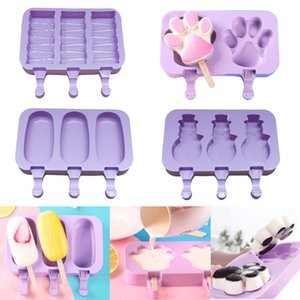 Silicone Ice Cream Mold Cartoon Cute Ice Cream Popsicle Ice Maker Mould Home Kitchen DIY Homemade Food Food Grade Popsicle Molds DHD3907