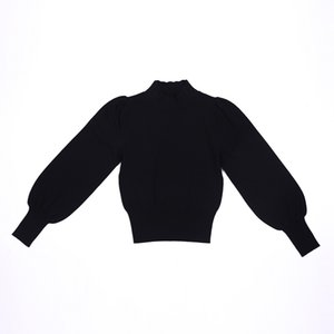 The new ms qiu dong sets leisure small turtleneck sweater joker fashionable coat inside lantern sleeve knit