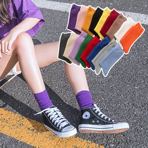 Fashion Casual Cotton Crew Socks for Women Girls Winter Warm Ankle High Socks Candy Colors Middle Tube Stockings 19 Styles Free DHL LQQ188