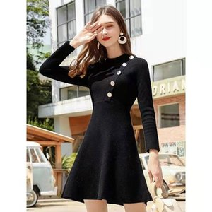 Hot Sale women autumn winter sweater dress luxury designer long sweaters dresses womens knitted classic black vintage Dress