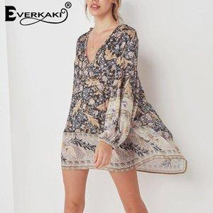 Everkaki Black Phoenix-Haft Print Mini платье Женщины Boho с длинным рукавом свободные хлопчатобумажные V-образные вырезывающие кружевы богемное платье 2019 весна New1