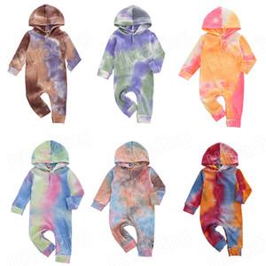 6 colores nuevo bebé del tinte del lazo con capucha mameluco recién nacido del mono de la manga larga de 2020 Caída Body Fashion Boutique Niños ropa que sube M2915