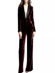 Burgundy Velvet Formal Suits 2 Pcs (Jacket+Pants)Women's Ladies Party Evening Prom Wedding Tuxedos
