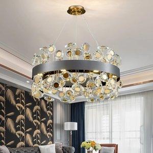 Nuovo moderno lampadario di cristallo moderno per soggiorno Design girasole rotondo LED CRISTAL LUTUSS Home Decor Oro / Black Indoor Lighting