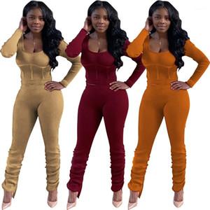 Moda Mürettebat Boyun Yığın Pants İki Adet Set Sonbahar Kış Kadın Giyim Tasarımcısı Bayan Eşofmanlar Tops