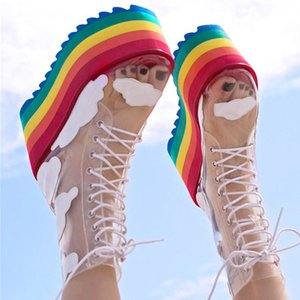 Rainbow Bottines Talons hauts plate-forme courte Bottes Nightclub gâteau fond Chaussures pour femmes semelle épaisse en PVC transparent bottillons 201019