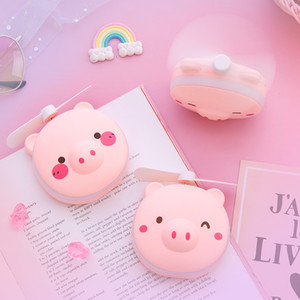 Portable Cartoon Pig Makeup LED Fill Light Makeup Mirror Pocket Fan USB Charging Handheld Mini Fan Summer Outdoor Night Light