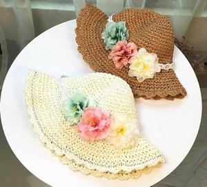 US Summer Baby Kids Girl Knitting Straw Hat Flower Bucket Cap Beach Holiday Boho