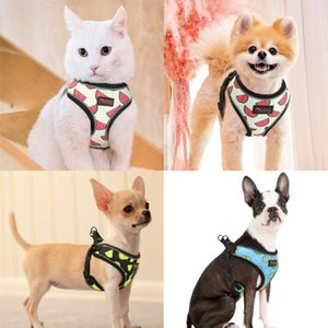 Nylon Reflective Dog Cat Harness Vest Printed French Bulldog Harness Puppy Small Medium Dogs Cats Harness For Chihuahua bbyymm