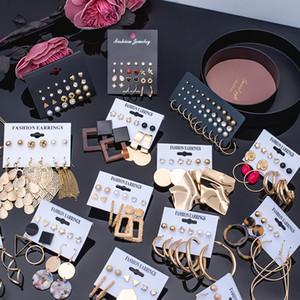 Hot Sale 5-piece set Fashion Korean Acrylic Drape Earrings Bohemian Geometric Round Earrings New 2020 Party accessories