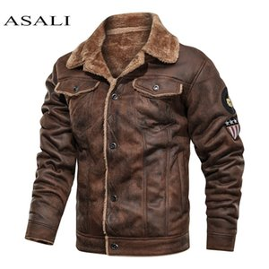 Men Old Fashioned Suede Leather Jackets Vintage Military Jacket Winter Coat Warm Casual Leather Jackets PU Slim Fit Male Zipper 201014