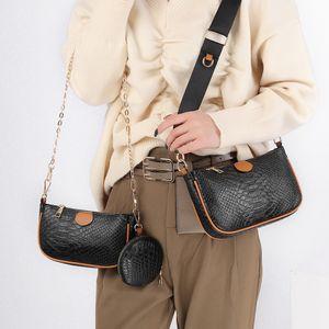 2021 new Women Favorite Leather Fashion Handbags Multi Purses Flower Mini Bag 3pcs messenger bag female bag snake detachable shoulder bags