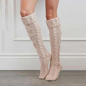 Quente rosa Coxa alta meias para senhoras Meninas Moda de Nova Knee Socks Mulheres Winter Sexy malha Longo Mulheres Long meias #M