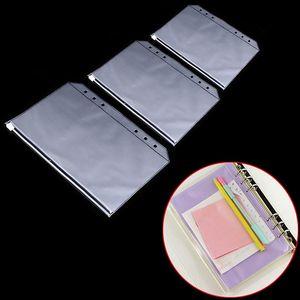 2020 A5 A6 A7 PVC 6 Hole Binder Loose-Leaf Notebook Waterproof Zipper Bag Business Card Bags Kids Learning Storage Bag School Office