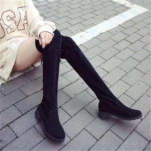WADNASO Nouvelle arrivée classique Place talon Bottes hiver de femme pas cher Bottes Noir genou haut talon caché tissu extensible