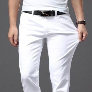 Kardeş Wang Men Beyaz Jeans Moda Günlük Klasik Stil Slim Fit Yumuşak Pantolon Erkek Marka Gelişmiş Stretch Pantolon