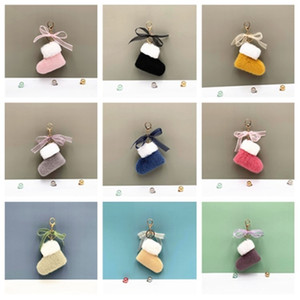 new Christmas boots key chain lovely bow bag pendant cartoon Plush key chain ring car gift hanging ornaments T2C5303