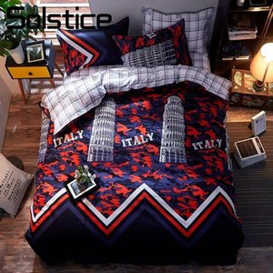 Solstice Home Textile Boy Kid Bedding Sets 3 4Pcs Teen Adult Pisa Building Bedlinen Pillowcase Sheet Duvet Cover King Queen Twin