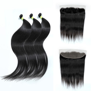30 36 40 Inch Straight 13x4 Human Hair 3 4 Bundles With Frontal Peruvian Remy Hair Extension Lace Closure For Women Weave