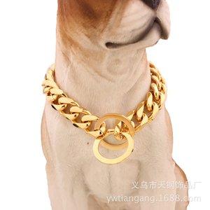 Luxury 15mm Amazon Hot Sale Titanium Steel Stainless Steel Gold Pit Bull Pet Big Dog Leash Pet Chain Collar Fashion Design