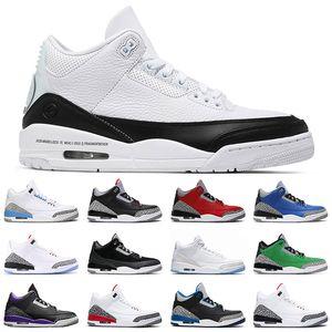 3 Shoes Mens Basketball Cement Fragmento Seul Tribunal roxo Preto lance livre linha Fire Red 3s UNC Mens instrutor Sports Sneakers