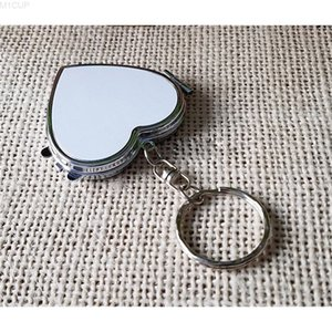 sublimation blank heart round makeup mirrors hermal transfer printing cosmetic mirror subliming consumables