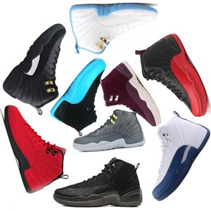Mens Basketball shoes 12 12s University Blue Bulls Navy Bordeaux Dark Grey white Flu Game UNC Gym red taxi french blue discount sneakers