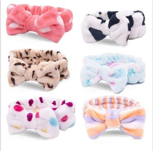 Hairband Shower Headband Bowknot Turban Dot Striped Hairbands Flannel Head Wrap Spa Make Up Hair Band Hair Accessories 26 Designs DHE4538