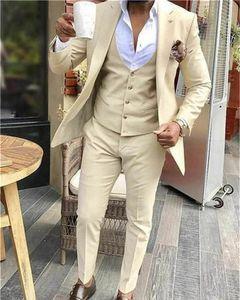 New Arrival Groomsmen Peak Lapel Groom Tuxedos One Button Men Suits Wedding Prom Dinner Best Man Blazer ( Jacket+Pants+Tie+Vest )