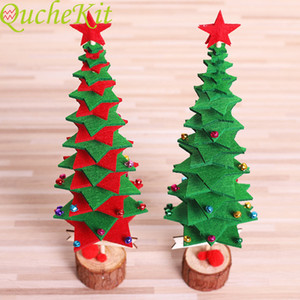 """Christmas tree decoration crafts""""; non woven fabric constellation + wood base, small office decoration, red   Green Christmas decoration"""