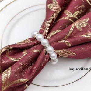 200 adet / grup Beyaz İnciler Napkin Yüzük Düğün Peçete Toka Düğün Resepsiyon Parti Masa Süslemeleri Için Malzemeleri