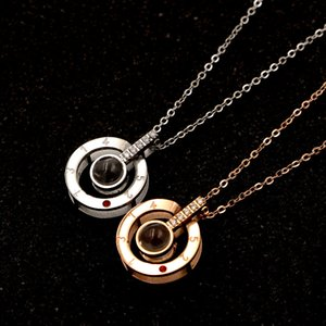 2019 Titanium steel 520 I love you necklace 100 Kind languages necklaces for women love clavicle necklace jewelry