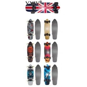 Skateboard Double Kicktail Cruiser Rocker Board Maple 4Wheel Teenager Adult Sidewalk Skating Street 6 Colors Matte Surface Board