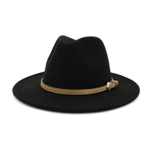 20 Autumn Winter Women Men Wool Felt Panama Hat Jazz Fedora Bowler Hats Belt Buckle Decor Flat Brim Cowboy Trilby Hat