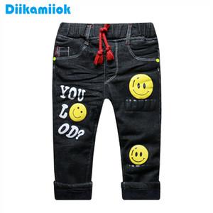 Çocuklar 1-5 Yıl DB-B02 1006 için 2019 Yeni Kış Kalın Sıcak Erkek Kot Siyah Moda Çocuk Giyim Erkek Bebek Termal Denim Pantolon