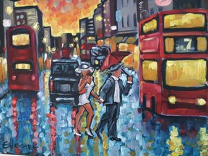 ELLECTRA London night Home Decor Handpainted &HD Print Oil Painting On Canvas Wall Art Canvas Pictures 7645