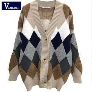 Women Sweaters Autumn Winter 2020 fashionable Casual Plaid V-Neck Cardigans Single Breasted Puff Sleeve Loose Sweater